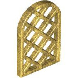 Pearl Gold Pane for Window 1 x 2 x 2 2/3 Lattice Diamond with Rounded Top - used