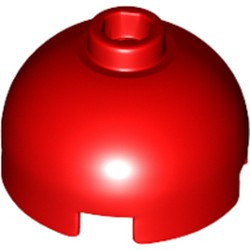 Red Brick, Round 2 x 2 Dome Top - Hollow Stud with Bottom Axle Holder x Shape + Orientation - new