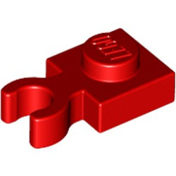Red Plate, Modified 1 x 1 with Open O Clip Thick (Vertical Grip) - new