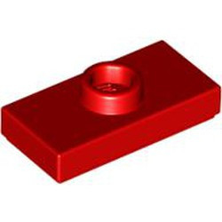 Red Plate, Modified 1 x 2 with 1 Stud without Groove (Jumper) - used