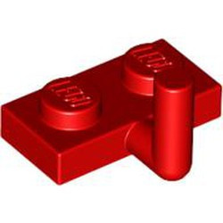 Red Plate, Modified 1 x 2 with Bar Arm Up (Horizontal Arm 5mm) - new