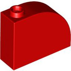 Red Slope, Curved 3 x 1 x 2 with Stud - used