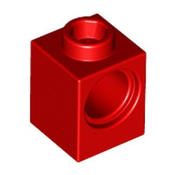 Red Technic, Brick 1 x 1 with Hole - used