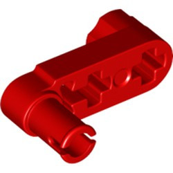 Red Technic, Liftarm, Modified Crank / Pin 1 x 3 - Axle Holes and Squared Pin Hole