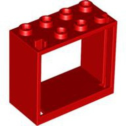Red Window 2 x 4 x 3 Frame - Hollow Studs - used