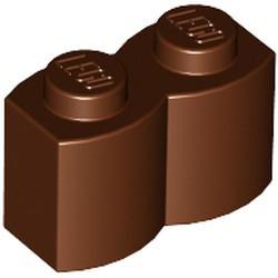 Reddish Brown Brick, Modified 1 x 2 with Log Profile