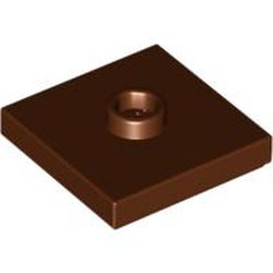 Reddish Brown Plate, Modified 2 x 2 with Groove and 1 Stud in Center (Jumper) - used