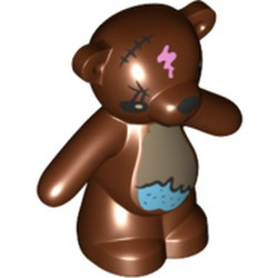 Reddish Brown Teddy Bear, The Simpsons with Black Eyes, Nose, Mouth and Stitches, Dark Tan and Medium Azure Stomach and Bright Pink Spot Pattern (Bobo) - used
