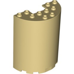 Tan Cylinder Half 3 x 6 x 6 with 1 x 2 Cutout
