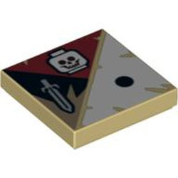 Tan Tile 2 x 2 with Groove with 1 Black Dot, Skull and Sword Pattern