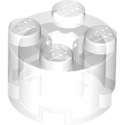 Trans-Clear Brick, Round 2 x 2 with Axle Hole - new