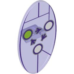 Trans-Purple Minifigure, Shield Oval with Dimensions Keystone Symbol with 3 White and Lime Circles Pattern