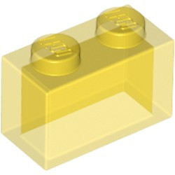 Trans-Yellow Brick 1 x 2 without Bottom Tube - new