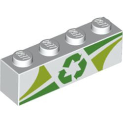White Brick 1 x 4 with Lime and Green Triangles and Recycling Arrows Pattern