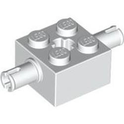 White Brick, Modified 2 x 2 with Pins and Axle Hole