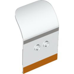 White Door 2 x 4 x 6 Curved Aircraft with Light Bluish Gray and Orange Stripes Pattern