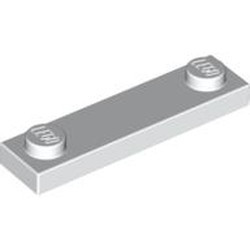 White Plate, Modified 1 x 4 with 2 Studs without Groove - new
