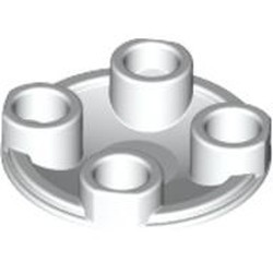 White Plate, Round 2 x 2 with Rounded Bottom (Boat Stud) - used
