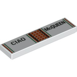 White Tile 1 x 4 with 'CIAO' and 'McQUEEN' Pattern - new