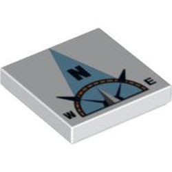White Tile 2 x 2 with Groove with Compass North 'N' in Light Blue Pointer Pattern