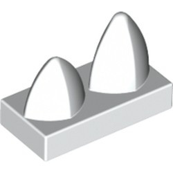 White Tile, Modified 1 x 2 with 2 Teeth Vertical