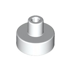 White Tile, Round 1 x 1 with Bar and Pin Holder - new