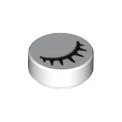 White Tile, Round 1 x 1 with Black Eye Closed with 7 Eyelashes Pattern
