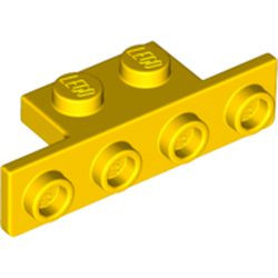 Yellow Bracket 1 x 2 - 1 x 4 with Two Rounded Corners at the Bottom