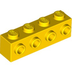 Yellow Brick, Modified 1 x 4 with 4 Studs on 1 Side - new