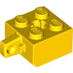 Yellow Hinge Brick 2 x 2 Locking with 1 Finger Vertical (Undetermined Type) - used