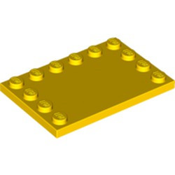 Yellow Tile, Modified 4 x 6 with Studs on Edges