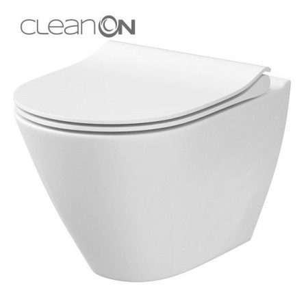vas wc suspendat cu capac soft close Cersanit City Oval Cleanon