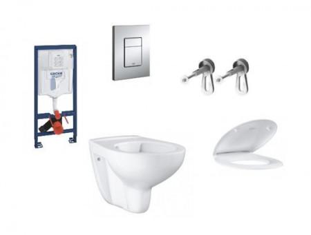 pachet baie suspendata grohe bau ceramic rezervor incastrat vas wc capac wc clapeta crom lucios elemente fixare