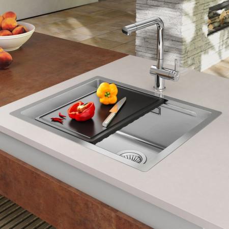 7448339681652 Chiuveta bucatarie inox CookingAid LUX STEP 50 + Bonus: tocator Versus din ABS reversibil in scurgator vase + accesorii montaj