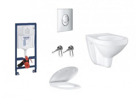 pachet grohe bau ceramic rapid sl skate air vas wc suspendat capac soft close clapeta crom lucios rezervor incastrat wc