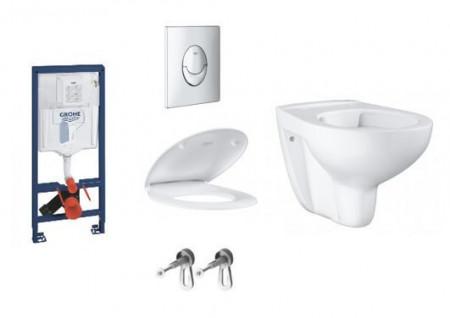 pachet grohe bau ceramic vas wc rimless capac wc rapid sl rezervor incastrat si clapeta skate air crom lucios