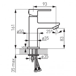 BZI2BL Baterie pentru lavoar Zicco Black Ferro, negru schita tehnica