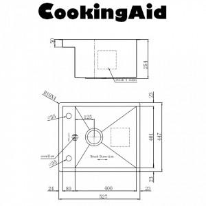 Chiuveta bucatarie inox CookingAid INVISIBLE DEEP cu baterie telescopica integrata, scurgator vase/paste/fructe, tocator sticla temperizata, dozator detergent +accesorii montaj schita tehnica
