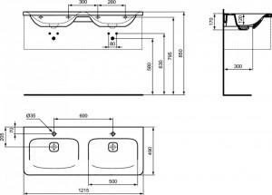 K087001 schita tehnica lavoar tonic ii ideal standard
