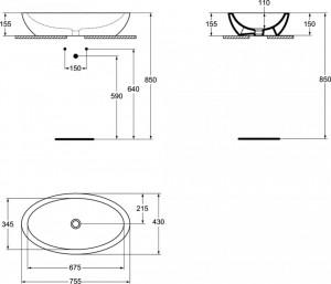 k078501 lavoar pe blat strada ideal standard  schita tehnica