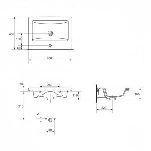 K32-003-BOX Lavoar pentru mobilier Cersanit Como, 60 cm schita tehnica