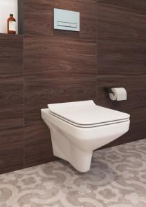 Set wc suspendat Cersanit Como CleanOn cu capac slim cu Soft-close