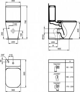 k316801 vas wc stativ tonic ii ideal standard cu rezervor  schita tehnica