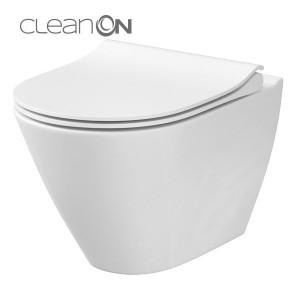 Vas wc suspendat cu capac Cersanit City Oval Clean On
