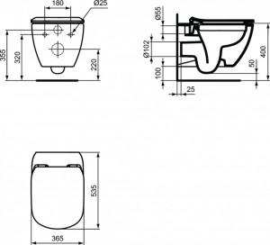 t3503 schita tehnica vas wc tesi rimless ideal standard