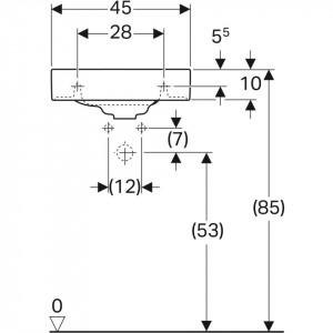 500.541.01.1 Lavoar Geberit Citterio, 45 cm schita tehnica