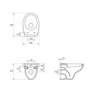 schita tehnica K11-0021 vas wc suspendat delfi cersanit