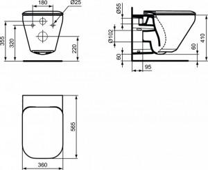 K316701 vas wc suspendat cu capac tonic ii aquablade ideal standard  schita tehnica