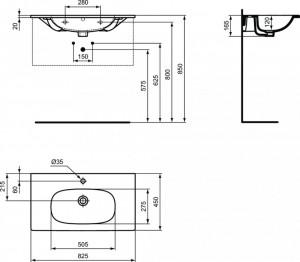 schita tehnica T350901 lavoar Tesi Ideal standard incastrat