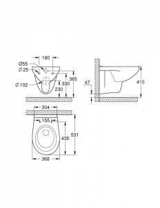 39427000  schita tehnica vas wc suspendat bau ceramic rimless grohe